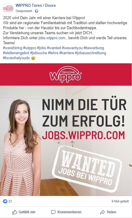Facebook Anzeige Karriere Landingpage